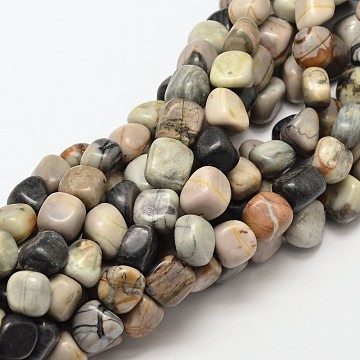 Natural Picasso Stone/Picasso Jasper Nuggets Beads Strands, 9~13x9~13x9~13mm, Hole: 1mm; about 35~40pcs/strand, 15.7inches(G-P092-25)