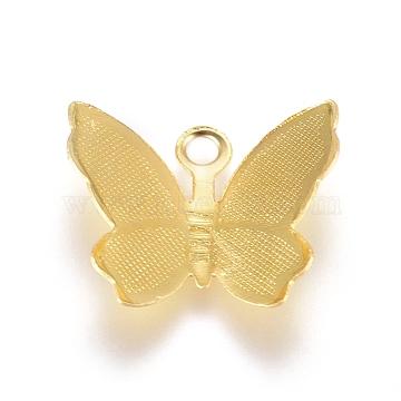 Brass Filigree Pendants, Butterfly Charms, Golden, 11x13.5x3mm, Hole: 1.5mm(X-KK-G368-07G)