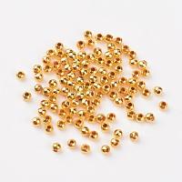 Rondes fer séparateurs perles d'or, accessoires en métal pour bricolage, accessoires en métal pour fournitures de fabrication de bijoux, environ 3.2 mm de diamètre, épaisseur de 3mm, Trou: 1.2mm