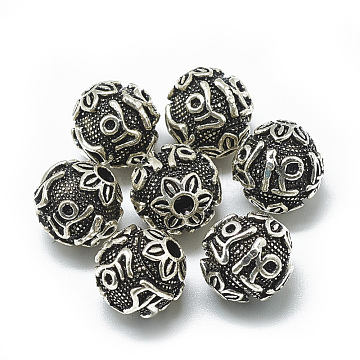 Antique Silver Round Thai Sterling Silver Beads
