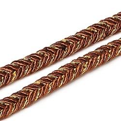 Tressés fils de tissu les cordons pour la fabrication de bracelets, Sienna, 6 mm; environ 50 mètres / rouleau (150 pieds / rouleau)(OCOR-L015-08)