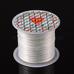 Chaîne de cristal élastique plat, fil de perles élastique, pour la fabrication de bracelets élastiques, teint, blanc, 0.8mm, 11m/rouleau(EW014)
