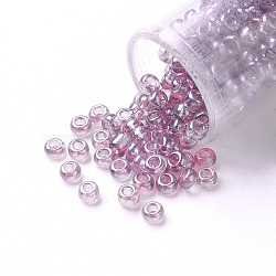 FGB&reg 12/0 Round Glass Seed Beads, Grade A, Transparent Colours Lustered, MediumPurple, 2x1.5mm, Hole: 0.3mm, 7000pcs/50g(X-SEED-Q011-F510)