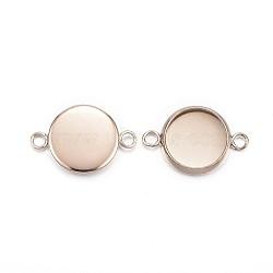 304 настройки разъема кабошона из нержавеющей стали, чашки безель с краем, плоские круглые, розовое золото, лоток: 10 мм; 17.5x12x2 мм, отверстия: 2 mm(X-STAS-G127-14-10mm-RG)