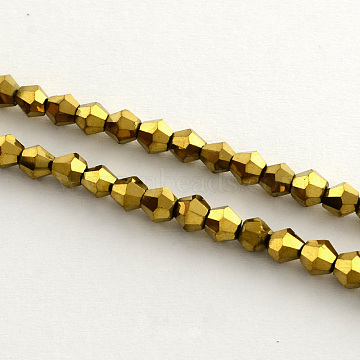 Electroplate Glass Bead Strands, Rainbow Plated, Faceted Bicone, Golden Plated, 4x4.5mm, Hole: 1mm; about 104pcs/strand, 18inches(X-EGLA-R094-4mm-01)