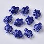 Handmade Porcelain Beads, Bright Glazed Porcelain Style, Tortoise, Blue, 19x15x8.5mm, Hole: 2mm