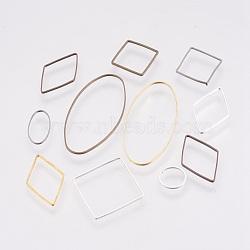 Anneaux connecteurs en laiton, formes mixtes, couleur mixte, 10~40x8~20x0.8~1mm(KK-MSMC018-02)