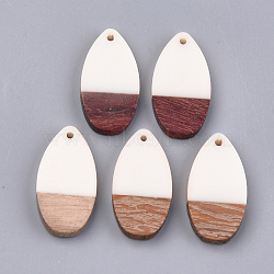 Pendentifs en résine & en bois, larme, blanc crème, 31x16x3.5~4mm, Trou: 1.5mm(X-RESI-S358-16E)