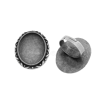 Vintage Adjustable Iron Finger Ring Components Alloy Cabochon Bezel Settings, Cadmium Free & Lead Free, Antique Silver, 17x5mm, Oval Tray: 25x18mm(X-PALLOY-Q300-07AS-NR)