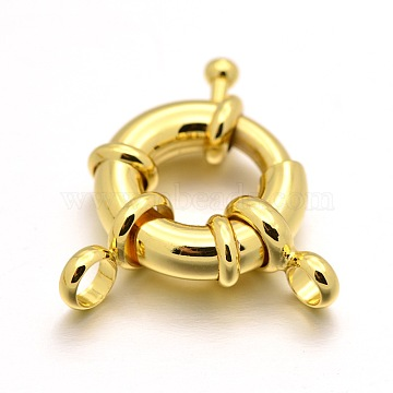 Rack Plating Brass Spring Ring Clasps, Real 18K Gold Plated, 17x6mm, Hole: 4mm(X-KK-D399-A-G-NF)