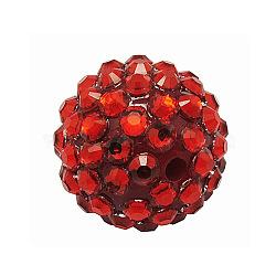 Бусины со стразами из смолы, DIY материал для серьги супруг баскетбола, круглые, красные, Размер : диаметром около 18 мм , отверстие : 2 мм(X-RESI-A002-11)
