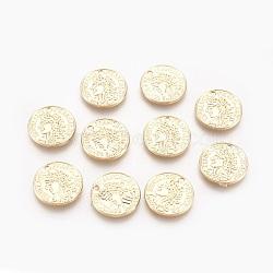 pendentifs en argent, réel 18 k plaqué or, 15.5x1.5 mm, trou: 1.5 mm(PALLOY-O090-01G)