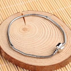 Brass European Style Bracelets for Jewelry Making, Platinum, 210mm(X-KK-D506-F)