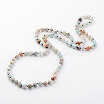 Natural Flower Amazonite Necklaces, Beaded Necklaces, Round, Faceted, 35.9 inches(NJEW-D264-20)