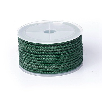 Polyester Braided Cord, Sea Green, 3mm; about 8m/roll(OCOR-F010-B01)
