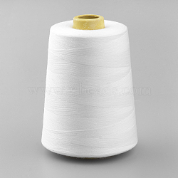 Cordons de fil à coudre de polyester, pour le tissu ou le bricolage, blanc, 0.1 mm; environ 7000 mètres / rouleau(OCOR-Q033-19)