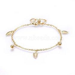 """Bracelets de cheville en 304 acier inoxydable avec pendentif, fermoirs pince de homard et les chaînes du câble, feuille et rond, or, 9-7/8"""" (25 cm); charmes: 8~14x5~9x1~5mm(AJEW-L065-05G)"""