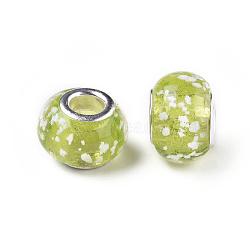 main lumineux chalumeau perles européennes, avec ame en laiton de couleur argent, tambour, yellowgreen, taille: environ 13 mm de long, 10 mm de large, trou: 5 mm(X-LAMP-X098-9)