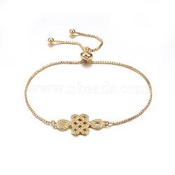 """Bracelets réglables en laiton à micro-pavé de zircons cubiques, Bracelets coulissants, avec des chaînes de boîte en laiton, noeud chinois, or, 10-5/8"""" (270 mm)(BJEW-F297-49G)"""