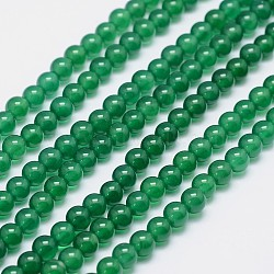 Grade A Natural Agate Round Beads Strands, Dyed, Green, 6mm, Hole: 1mm; about 63pcs/strand, 15.5inches