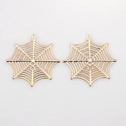 Araignée pendentifs en filigrane web plaquage de fer, or rose, 42x39x0.7mm, Trou: 1mm(X-IFIN-N3283-02RG)