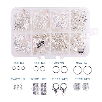 PandaHall Elite Jewelry Basics Class Kit Silver Lobster Clasp Jump Rings Alloy Drop End Pieces Ribbon Ends Mix 8 Style in In A Box(FIND-PH0002-01S-B)