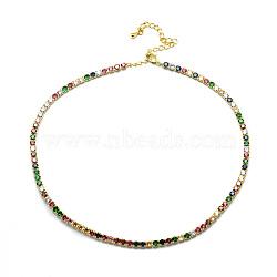 """Латуни ожерелья, с цепочками из кубического циркония и застежками из лобстера, красочный, 13.22"""" (33.6 см)(NJEW-I104-13B)"""