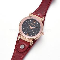 наручные часы высокого качества, кварцевые часы, Головка из сплава и ремешок из искусственной кожи, Darkred, 9-1 / 8 / 9-1 2 см); (23.1~24.2 мм; головка часов: 13~14x2.5~3 мм(WACH-I017-12B)