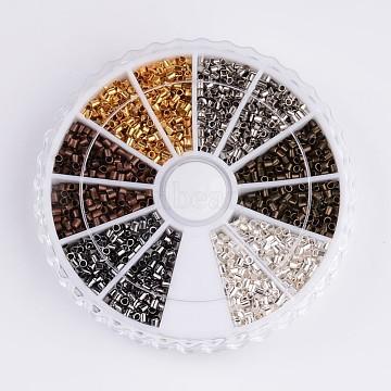 Brass Crimp Beads, Tube, Mixed Color, 1.5x1.5mm, Hole: 1mm, about 275pcs/compartment, 3300pcs/box(E001-M-B)