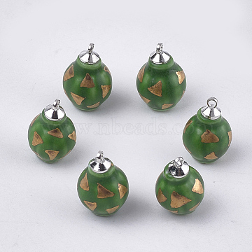 Handmade Porcelain Pendants, Frost, with Brass Findings, Lantern, Platinum, Green, 18x11~11.5mm, Hole: 1.5mm(PORC-T002-116B)