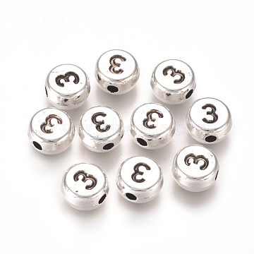 8mm Number Alloy Beads