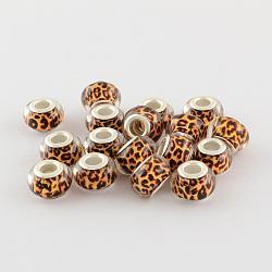 Perles Européennes en acrylique avec grand trou, laiton avec ton argent noyaux doubles, rondelle, chocolat, 14x9mm, Trou: 5mm(X-OPDL-R114-24B)