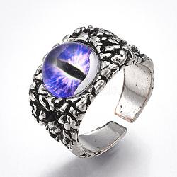 Bagues en alliage de verre, anneaux large bande, oeil de dragon, argent antique, blueviolet, taille 10, 20mm(RJEW-T006-01B)