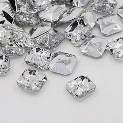 Boutons en acrylique avec strass, 2-trou, facette, octogone, cristal, 11x11x4mm, Trou: 1mm(BUTT-J007-01-B)