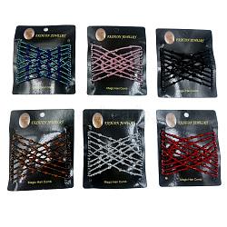 Peignes en fer, avec des perles en verre de graine, couleur mixte, 90x80mm(OHAR-Q095-M)
