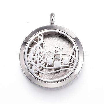 304 Stainless Steel Diffuser Locket Pendants, with Perfume Pad and Magnetic Clasps, Flat Round with Music Note, Gold, 36.5~37x30x6.5~7mm, Hole: 5mm(STAS-D157-17F)