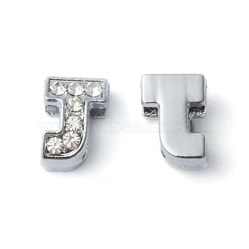 Initial Slide Beads, Alloy Rhinestone Beads, Platinum Color, Letter J, about 7.5mm wide, 10mm long, 6.5mm thick, hole: 3.5x7mm(X-ZP12-J)