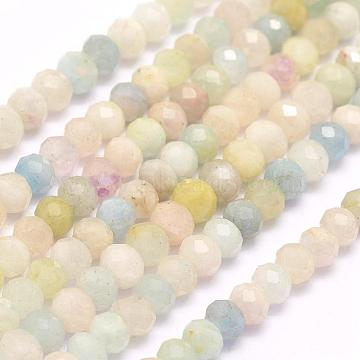 Natural Morganite Beads Strands, Faceted, Rondelle, 8x5~6mm, Hole: 1mm; about 66~78pcs/strand, 15.3inches(39cm)(G-F509-54-5x8mm)