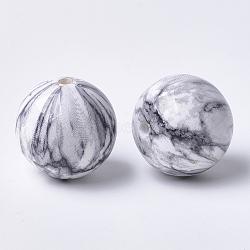 Perles acryliques imprimées, rond, gris clair, 20x19mm, Trou: 2.5mm(MACR-T024-44)