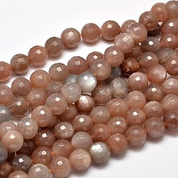 Faceted Natural Sunstone Round Bead Strands, 10mm, Hole: 1mm; about 37pcs/strand, 15inches