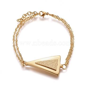 """Bracelets à maillons en 304 acier inoxydable, à fermoir texturé et pince de homard, triangle, or, 7-1/8"""" (18cm); 2mm(X-BJEW-F397-01G)"""