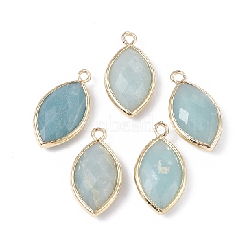 Natural Amazonite Pendants, with Golden Plated Brass Findings, Faceted, Horse Eye, 21.5x11.5x3~5mm, Hole: 1.6mm(X-G-L514-023D)