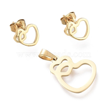 Valentine's Day 304 Stainless Steel Jewelry Sets, Hollow Pendants and Stud Earrings, Heart with Heart, Golden, 19.5x15x1mm, Hole: 5x2.5mm; 8.5x10mm, Pin: 0.7mm(SJEW-K154-19G)