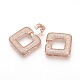 Brass Micro Pave Cubic Zirconia Fold Over Clasps(ZIRC-S058-01RG)-3