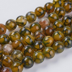 Natural Dragon Veins Agate Beads Strands, Dyed, Round, Olive, 10mm, Hole: 1mm