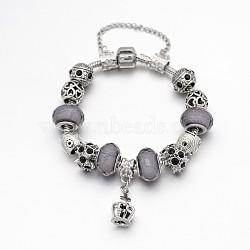 Alliage de couronne strass émail européens bracelets de perles, avec résine perles européennes, chaînes en laiton et en alliage fermoirs, grises , 180mm(BJEW-I182-02A)