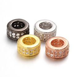 Perles de zircone cubique micro pave en Laiton, perles de rondelle avec grand trou , sans plomb et nickel sin, clair, couleur mixte, 8.5x4mm, Trou: 4.5mm(ZIRC-L037-16-FF)