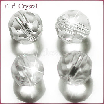 Imitation Austrian Crystal Beads, Grade AAA, Faceted, Round, Clear, 4mm, Hole: 0.7~0.9mm(SWAR-F021-4mm-001)