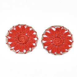 подвесные украшения из полиэстера, с железом выводы, плоские круглые с цветком, светлое золото, красный, 33x2 mm(FIND-S283-07D)