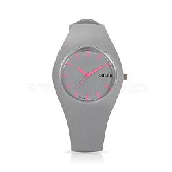 En acier inoxydable de montres-bracelets de silicone de quartz des femmes à la mode, darkgray, 255x18 mm; tête de montre: 32x42x9 mm(WACH-N008-11C)